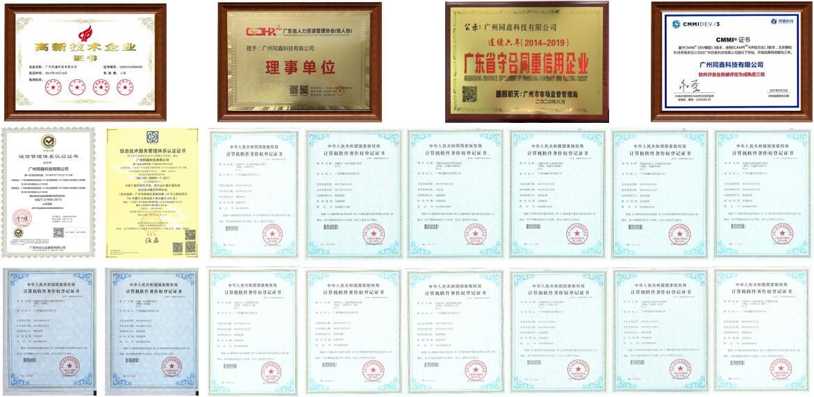 同鑫HR系统资质荣誉